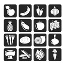 Silhouette Different kind of fruit and vegetables icons - vector icon set