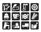 Silhouette Services and business icons - vector icon set