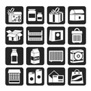 Silhouette different kind of package icons - vector icon set