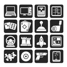 Silhouette Computer Games tools and Icons - vector icon set