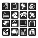 Silhouette Communication, connection  and technology icons - vector icon set
