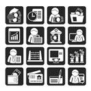 Silhouette Bank and Finance Icons - Vector Icon Set