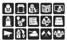 Silhouette Politics, election and political party icons - vector icon set