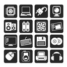 Silhouette Computer Items and Accessories icons - vector icon set