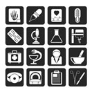 Silhouette Healthcare and Medicine icons - vector icon set