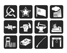 Silhouette Communism, socialism and revolution icons - vector icon set
