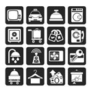 Silhouette Hotel and motel room facilities icons - vector icon set