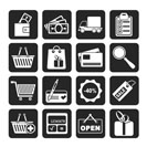 Silhouette Shopping and website icons - vector icon set