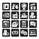 Silhouette social networking and communication icons - vector icon set