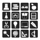 Silhouette education and school icons - vector icon set