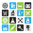 Silhouette Transportation and car repair icons - vector icon set