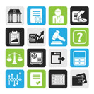 Silhouette Stock exchange and finance icons - vector icon set