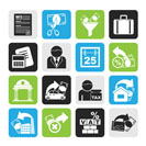Silhouette Taxes, business and finance icons - vector icon set