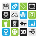 Silhouette Cinema and Movie icons- vector icon set