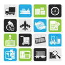 Silhouette shipping and logistics icons - vector icon set