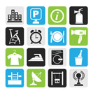 Silhouette Hotel and travel icons - vector icon set