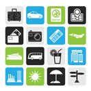 Silhouette Travel and vacation icons - vector icon set