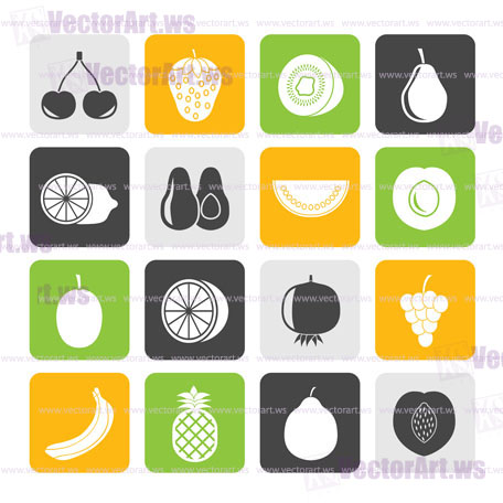 Silhouette Different kind of fruit and  icons - vector icon set
