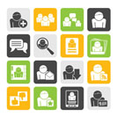 Silhouette Social Media and Network icons - vector icon set