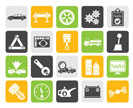 Silhouette car services and transportation icons - vector icon set