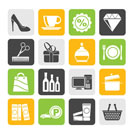 Silhouette Shopping and mall icons - vector icon set
