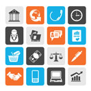 Silhouette Business and office objects icons - vector icon set