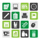 Silhouette Business and office equipment icons - vector icon set