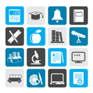 Silhouette Education and school objects icons - vector icon set