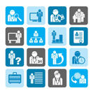 Silhouette Business, management and hierarchy icons - vector icon set