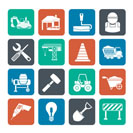 Silhouette Building and construction icons - vector icon set