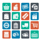 Silhouette shopping and retail icons - vector icon set