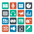 Silhouette Music and audio equipment icons - vector icon set