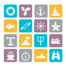 Silhouette Marine and sea icons - vector icon set