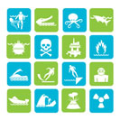 Silhouette Warning Signs for dangers in sea, ocean, beach and rivers - vector icon set 1