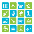 Silhouette Gardening tools and objects icons - vector icon set