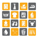 Silhouette Washing machine and laundry icons - vector icon set