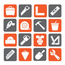 Silhouette Construction objects and tools icons- vector icon set