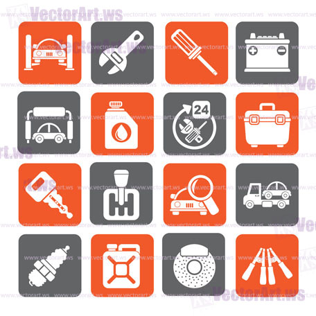 Silhouette Car Parts And Services Icons Vector Icon Set 1 Vector Art