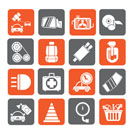 Silhouette Car parts and services icons - vector icon set 3