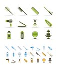 hairdressing, coiffure and make-up icons - vector Icon Set   - 3 colors included