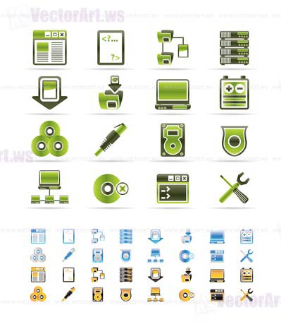 Server Side Computer icons - Vector Icon Set - 3 colors