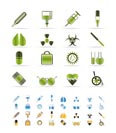 collection of  medical themed icons and warning-signs vector icon set  - 3 colors included