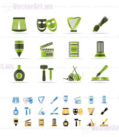 Different kind of art icons - vector icon set  - 3 colors included