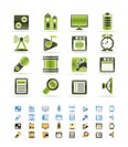 Mobile phone  performance, internet and office icons - vector icon set  - 3 colors included