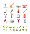 Kitchen and household tools icons - vector icon set - 2 colors included