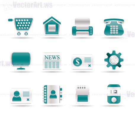 Business, office and website icons - vector icon set