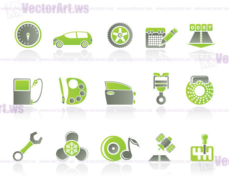 Car Parts Services And Characteristics Icons Vector Icon Set