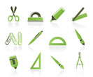 school and office tools icons- vector icon set