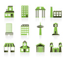 different kind of building and City icons - vector icon set