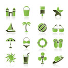 Beach, sea and holiday icons - vector icon set